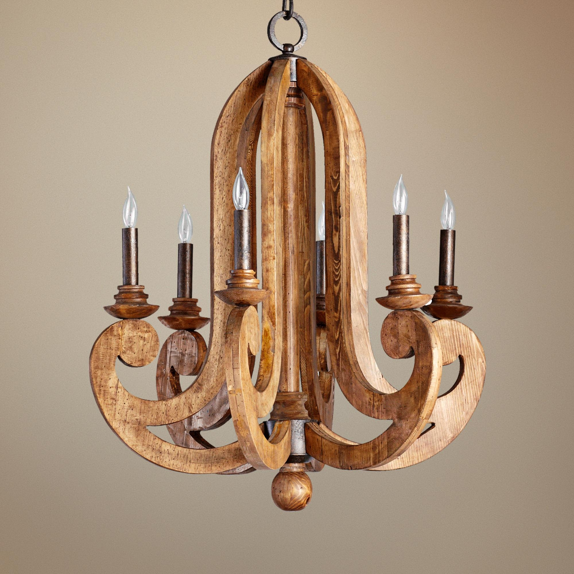 Houten Kroonluchter Koektrommel Wooden Chandelier New Home 3is Throughout Wooden Chandeliers (Image 8 of 15)