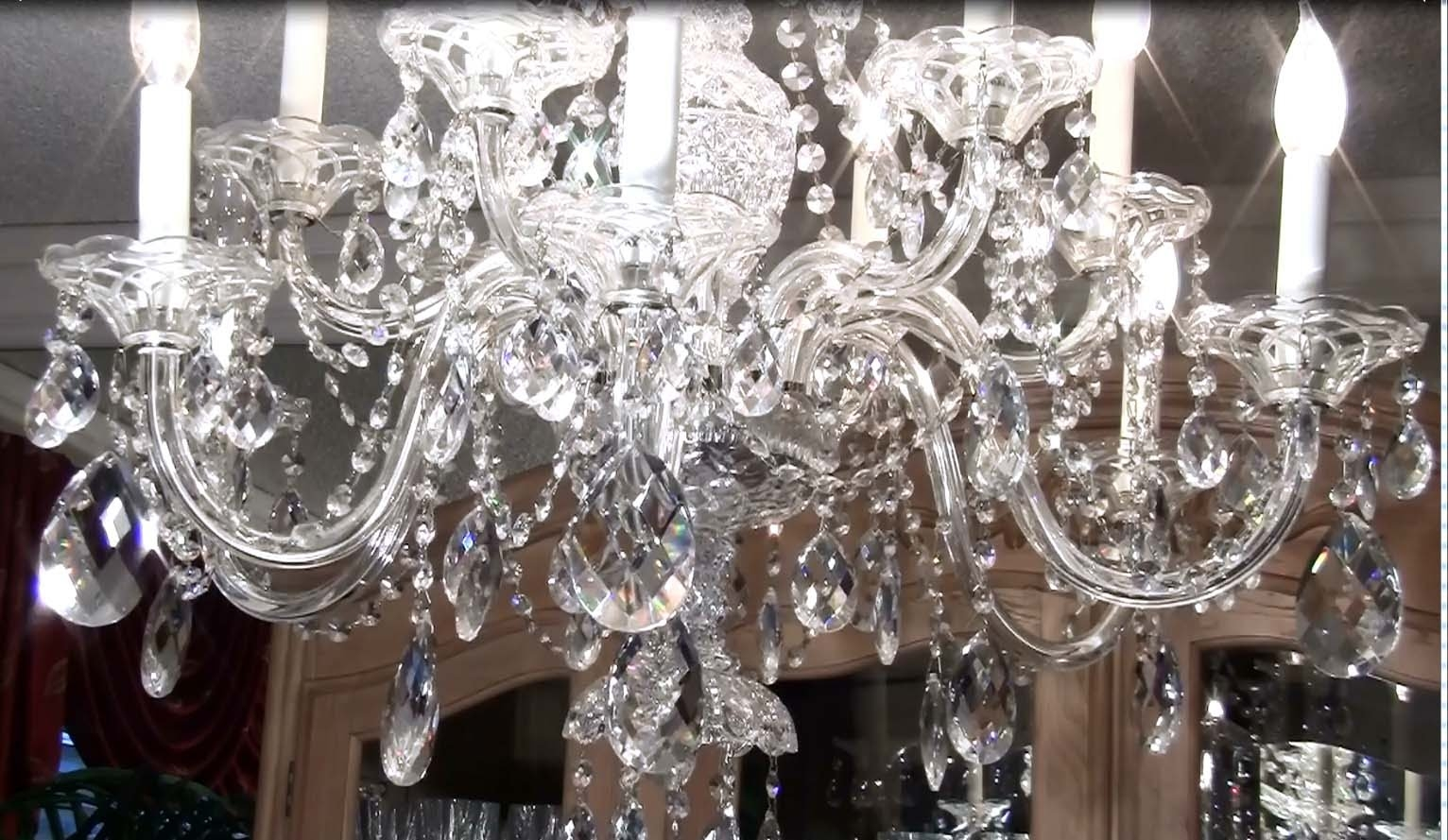 How To Clean A Crystal Chandelier Youtube With Regard To Crystal Chandeliers (Image 8 of 15)