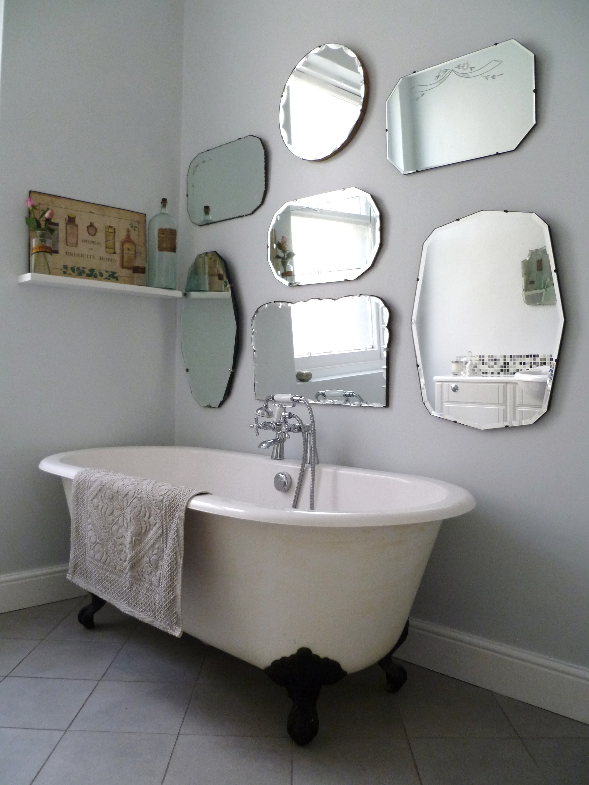 How To Hang A Display Of Vintage Mirrors Mirror Walls Grey And Throughout Vintage Frameless Mirror (Image 10 of 15)