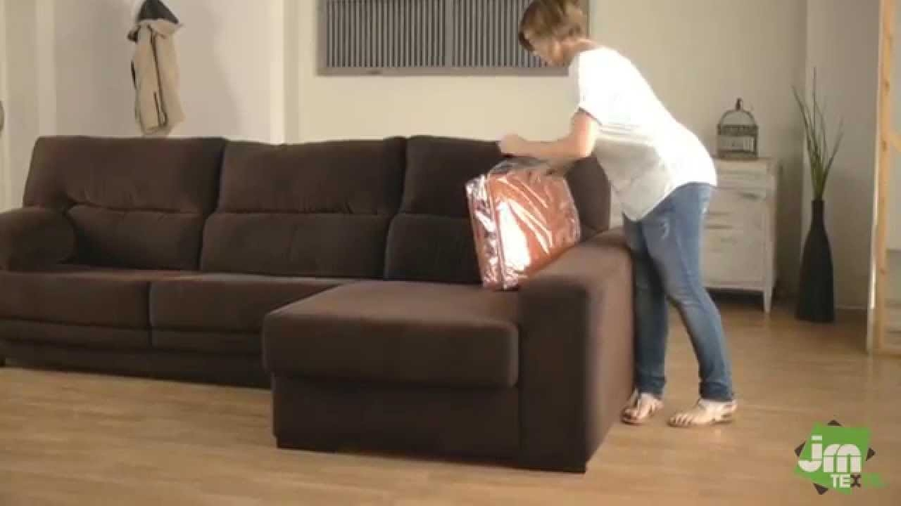 How To Put A Stretch Chaise Sofa Cover Youtube With Chaise Sofa Covers (Image 8 of 15)