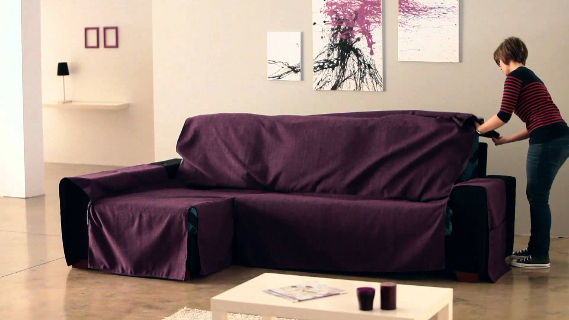 How To Put An Universal Chaise Sofa Covers Youtube Within Chaise Sofa Covers (Image 9 of 15)