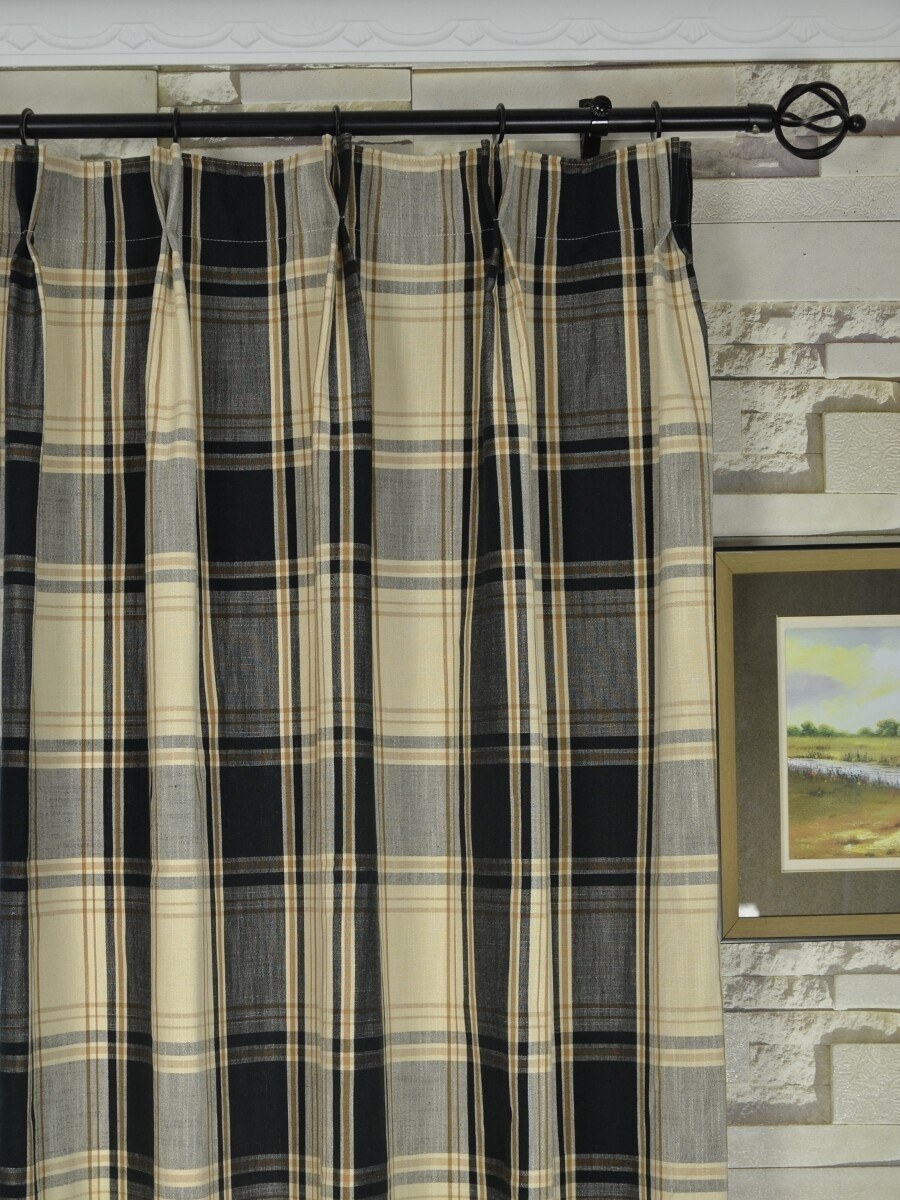 Hudson Yarn Dyed Big Plaid Blackout Double Pinch Pleat Curtains With Regard To Double Pinch Pleat Curtains (Image 9 of 15)