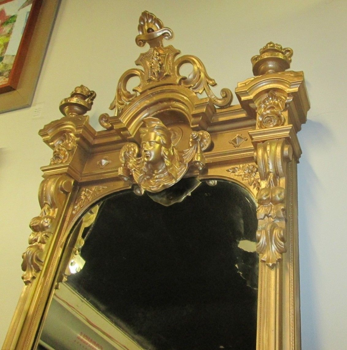 Huge 11 Antique Victorian Italianate Pier Mirror W Eagle Carved With Regard To Victorian Mirrors Antique (Image 11 of 15)