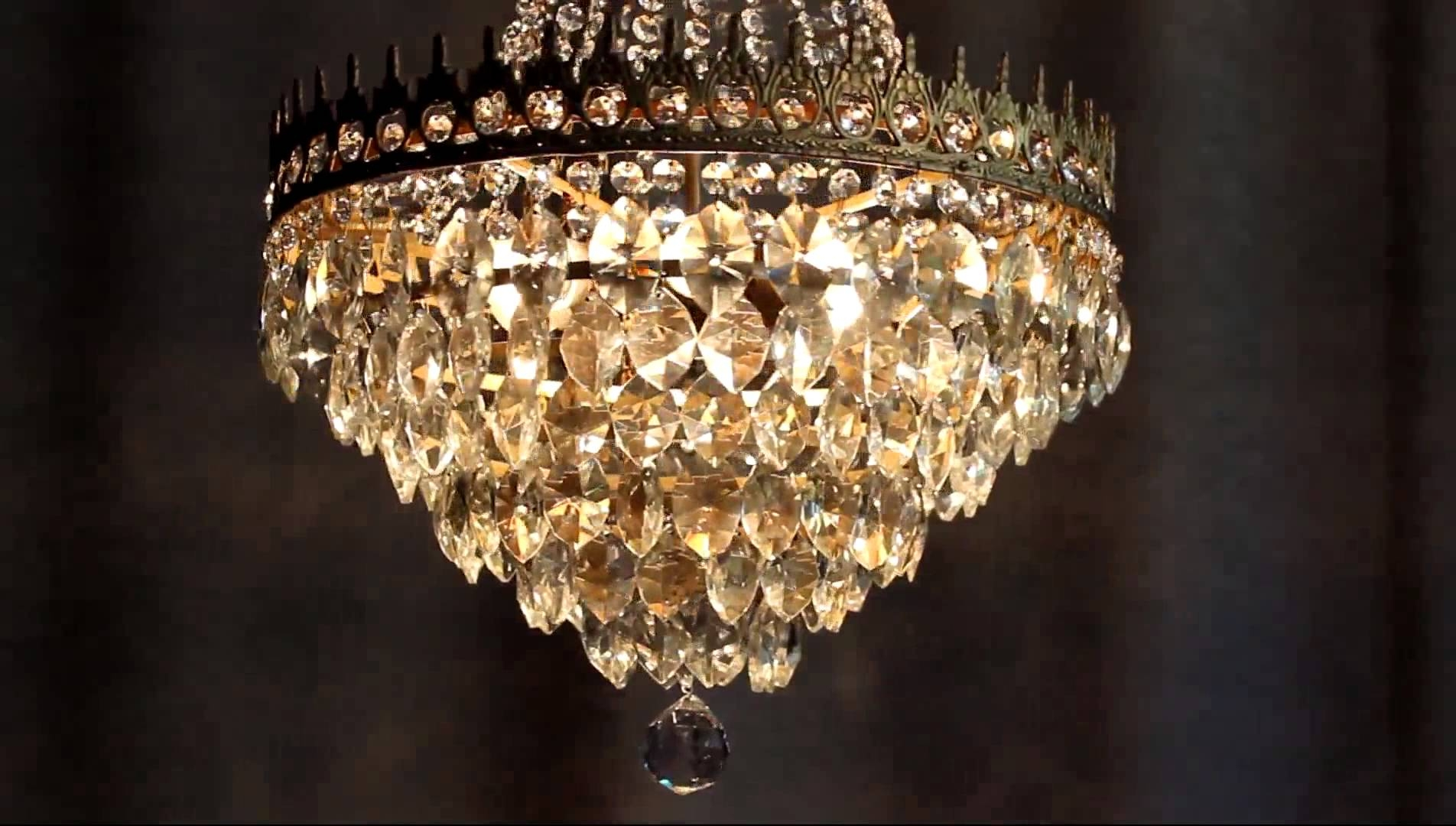 Huge Antique Luster Crystal Candelabra Chandelier Lighting Brass Within Huge Crystal Chandeliers (View 4 of 15)