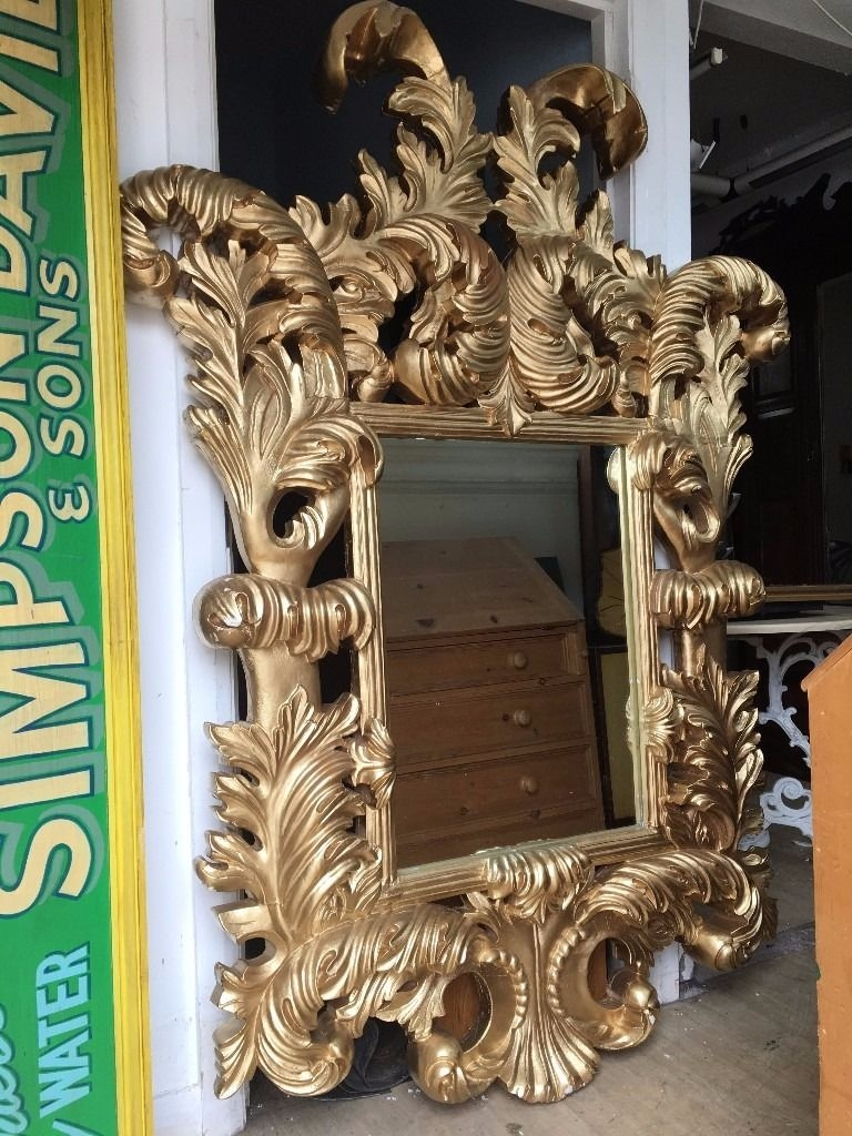 Huge Gold Mirror French Ornate Rococo Mirror Very Thick Regarding Rococo Gold Mirror (Image 7 of 15)