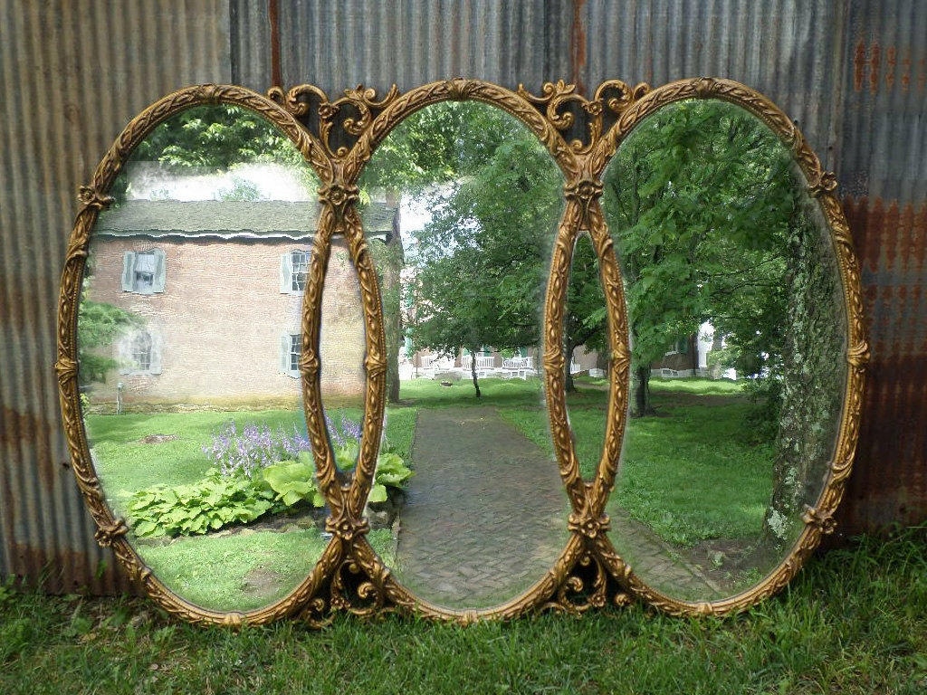 Huge Vintage Triple Mirror Room Size Mirror Gold Baroque Inside Triple Oval Mirror (Image 3 of 15)