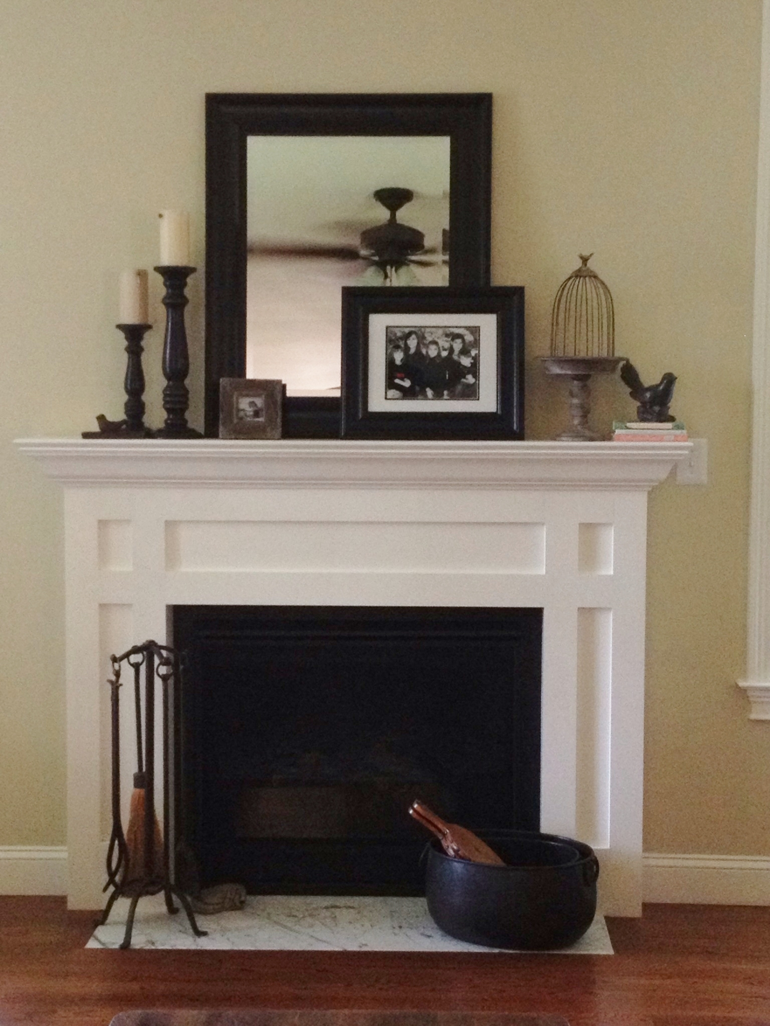 I Love The Layering Of The Mirror And Picture Frame In The Middle Throughout Above Mantel Mirrors (Image 7 of 15)