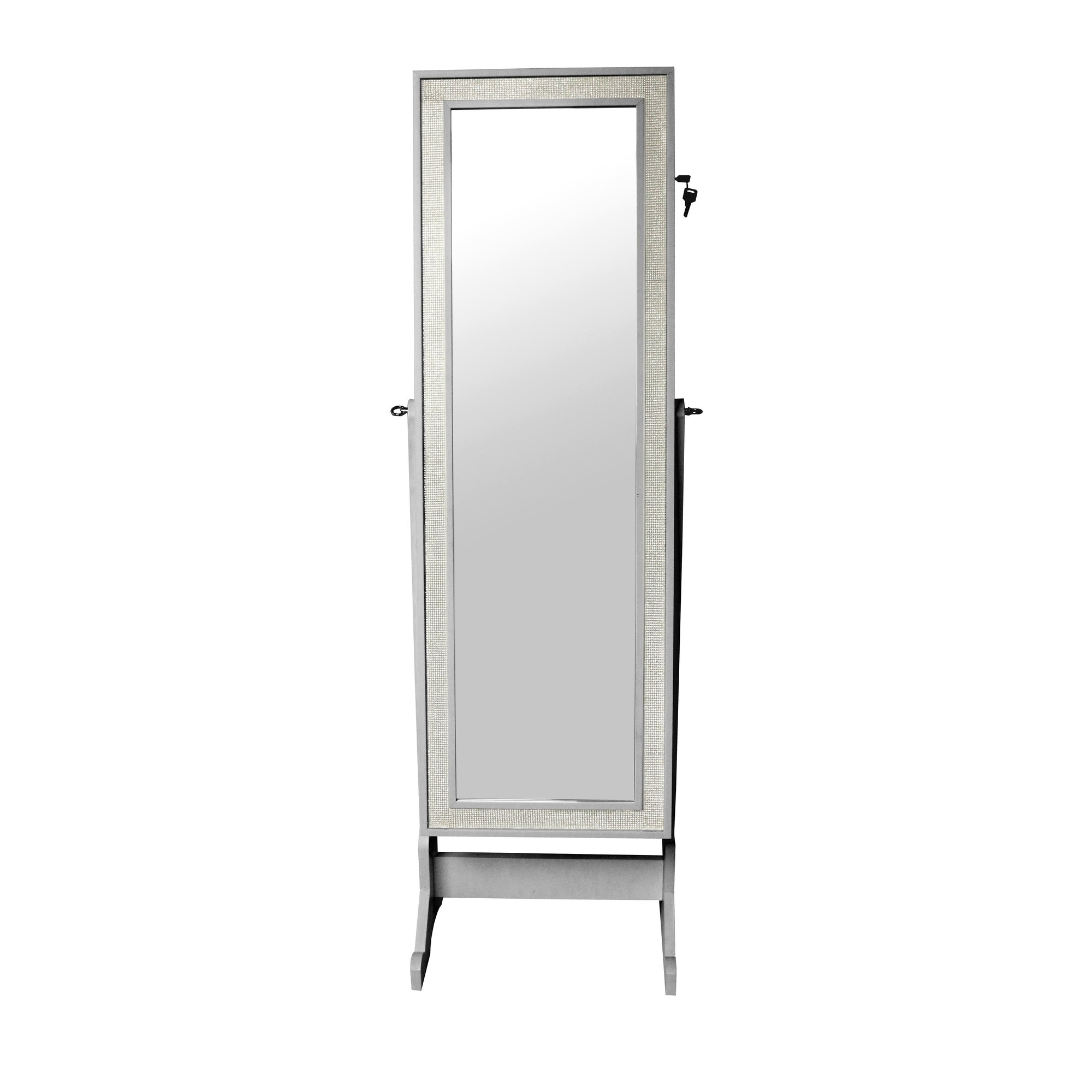 Iconic Home Glitzy Crystal Bordered Rectangular Jewelry Armoire Pertaining To Glitzy Mirrors (View 12 of 15)