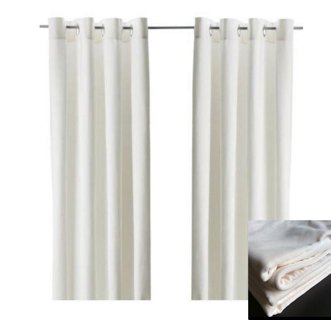 Ikea Sanela Curtains Drapes 2 Panels White Off White Velvet 98 Within White Velvet Curtains (View 2 of 15)