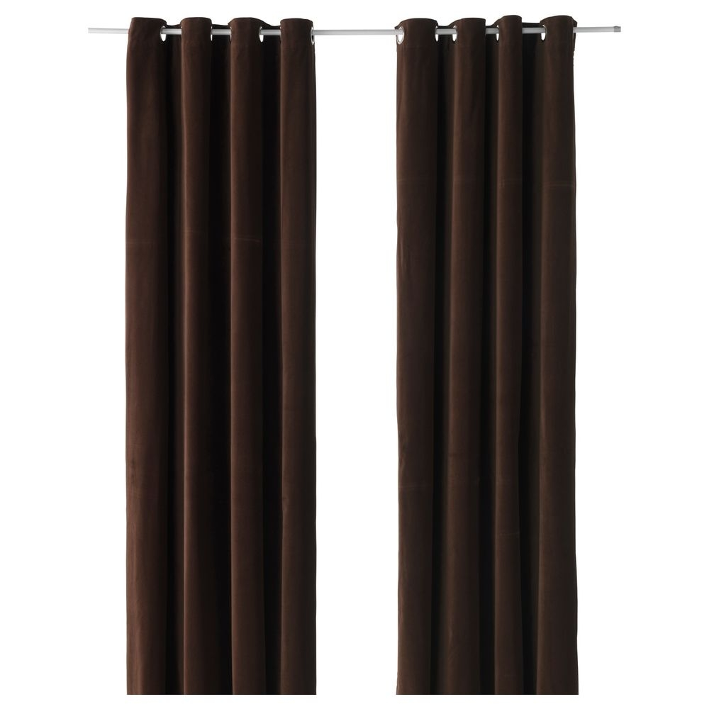 Ikea Sanela Dark Brown Curtains 2 Window Panels Blackout Cotton Intended For Dark Brown Velvet Curtains (Image 9 of 15)