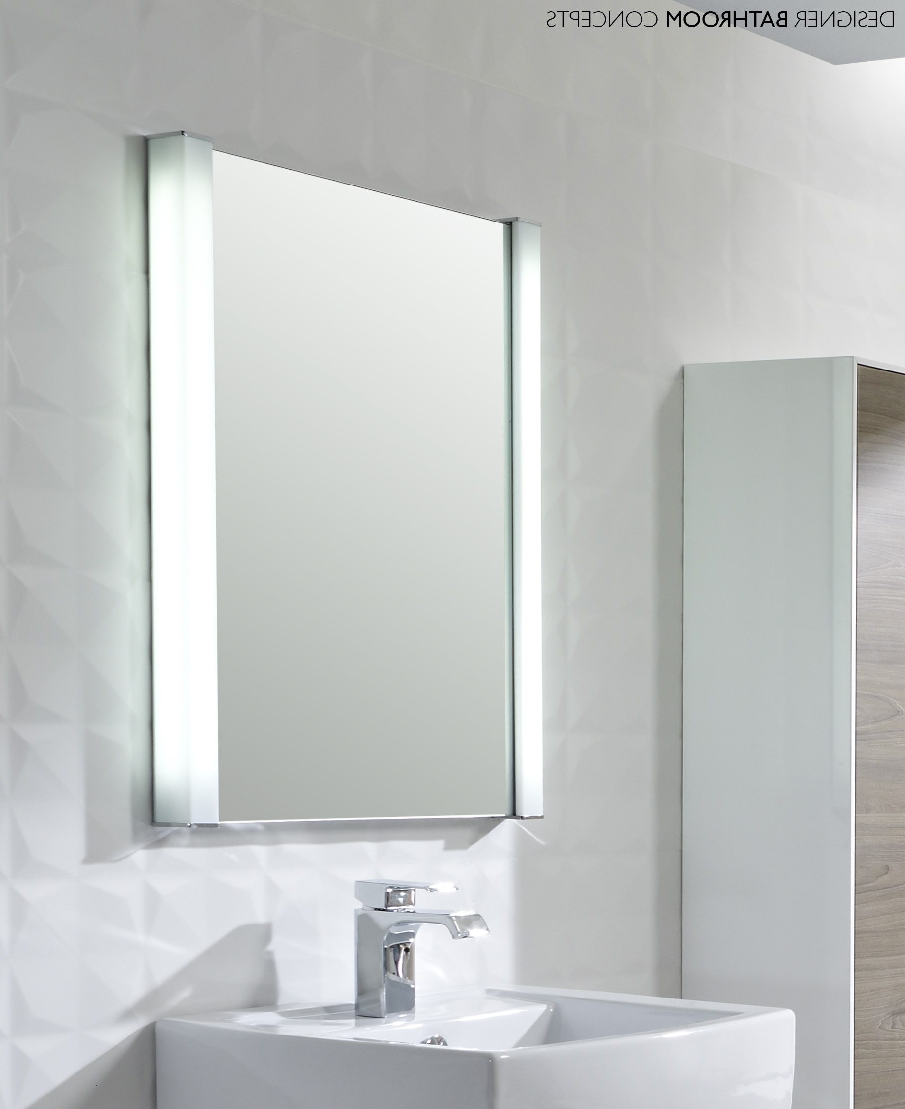 Illuminated Dressing Table Bathroom Mirrors Wall Mounted White Within Free Standing Dressing Table Mirror (Image 9 of 15)