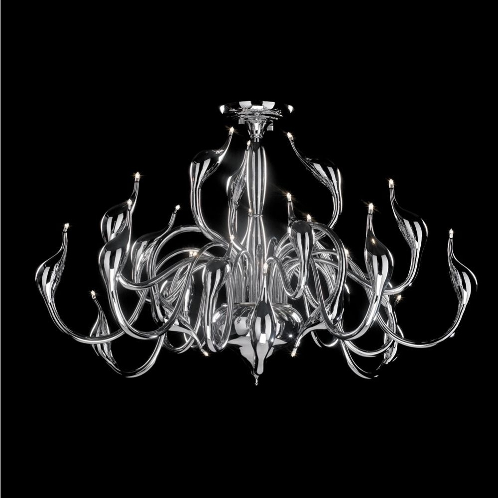 Illuminati Swan 24 Light Chrome Low Ceiling Chandelier Cotterell Within Low Ceiling Chandelier (Image 8 of 15)