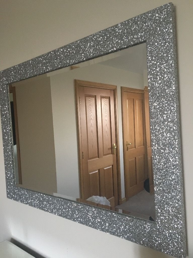 Immaculate Large Silver Glitter Framed Mirror In Banff For Silver Glitter Mirror (Image 8 of 15)