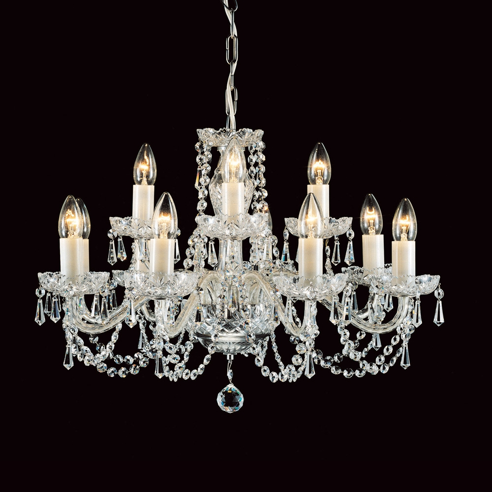 Impex Cb12529412 Preciosa Crystal Georgian 12 Arm Chandelier With Georgian Chandelier (Image 11 of 15)