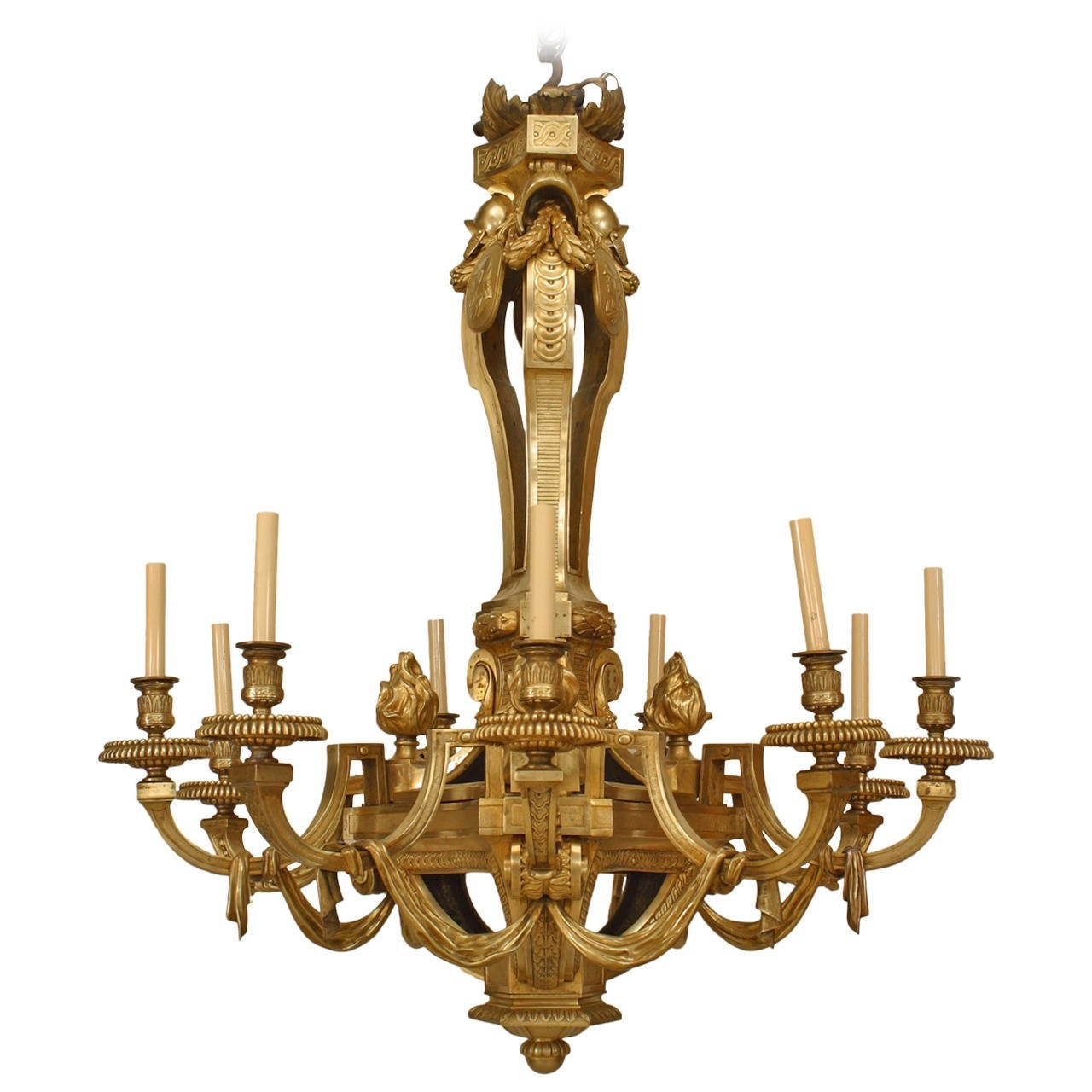 Important 19th Century French Louis Xvi Style Bronze Dor Twelve Pertaining To French Bronze Chandelier (Image 12 of 15)