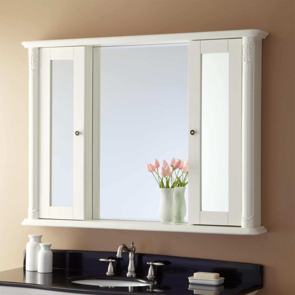 Impressive Wood Bathroom Medicine Cabinets With Mirrors Fresh At Intended For Contemporary White Mirror (Image 7 of 15)