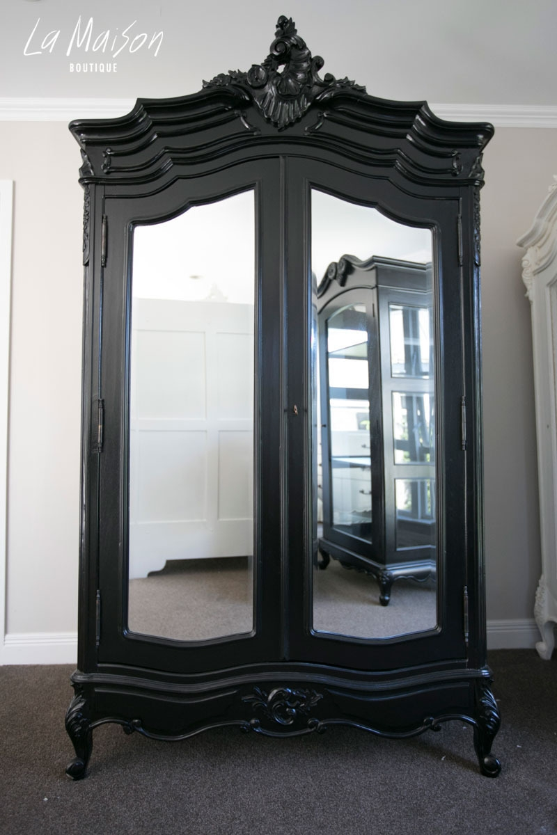 In Stock Now Two Door Armoire With Mirrors Black Boutiques Inside Boutique Mirrors (Image 10 of 15)