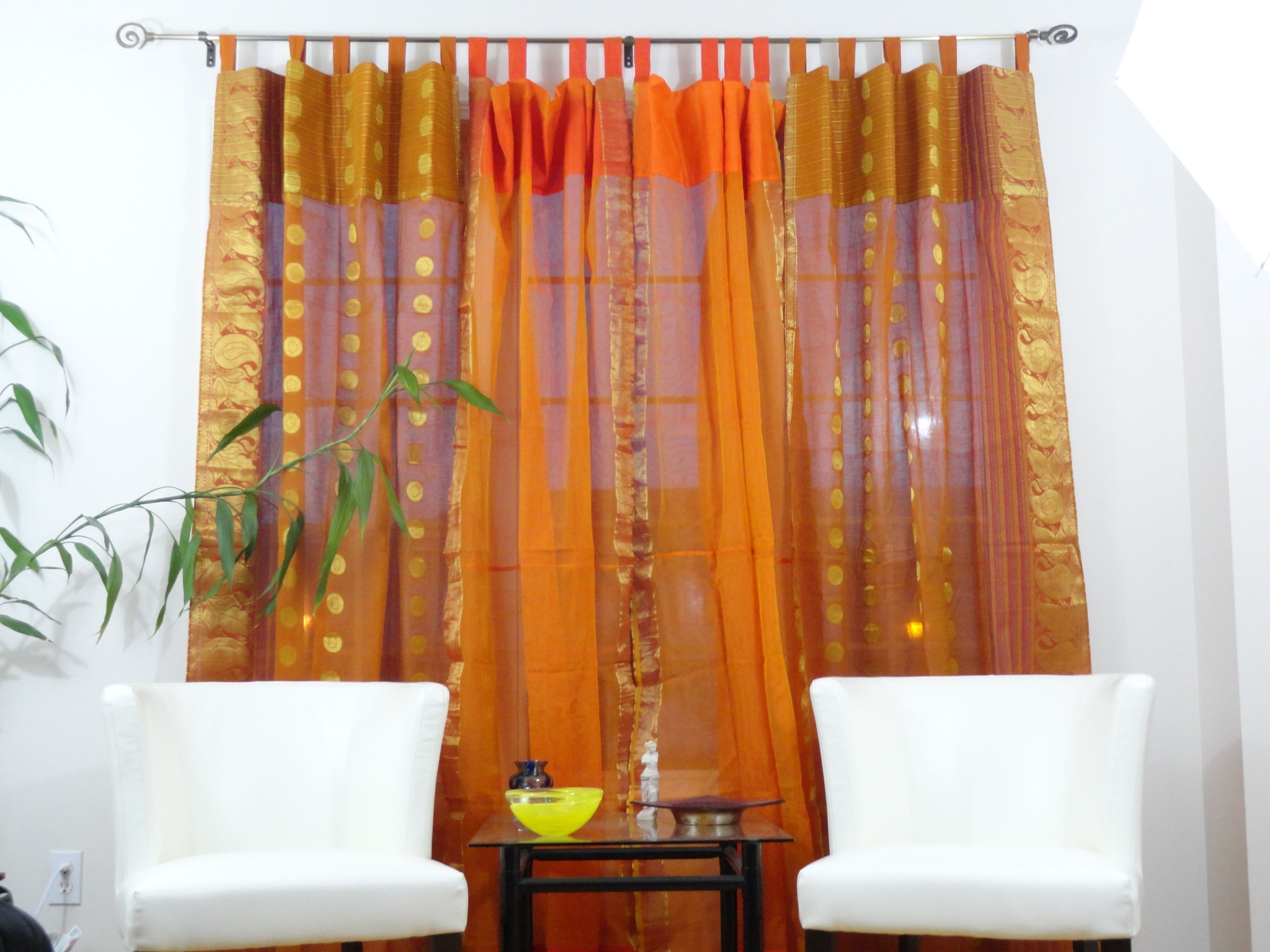 Indian Cotton Silk Curtains Drapes French Window Ethnic Custom Throughout Orange Silk Curtains (Image 8 of 15)