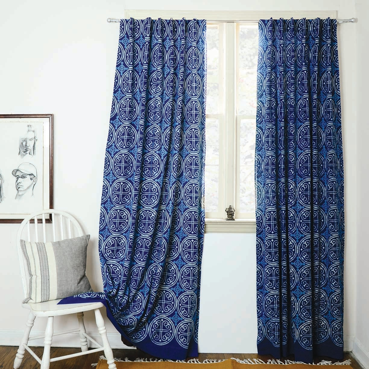 Indigo Curtains Blue Curtains Window Boho Bedroom Home Decor Intended For Blue Bedroom Curtains (Image 12 of 15)
