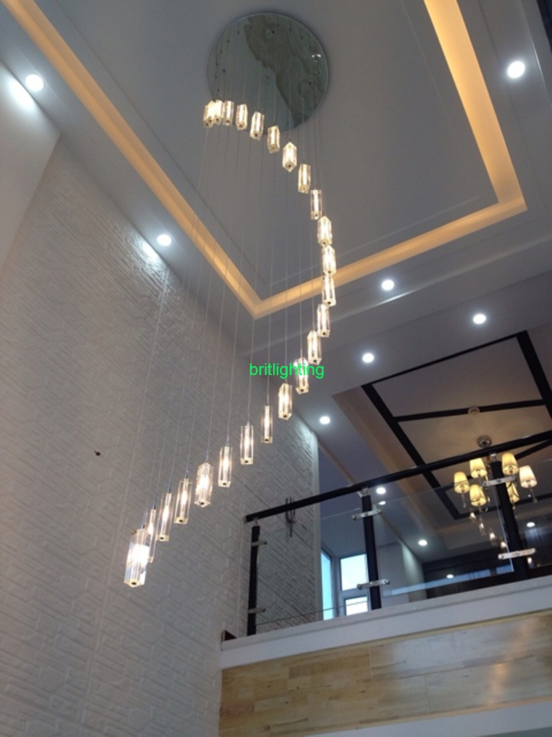 Indoor Stair Lamp Crystal Chandelier Modern K9 Large Led Spiral With Staircase Chandeliers (Image 10 of 15)