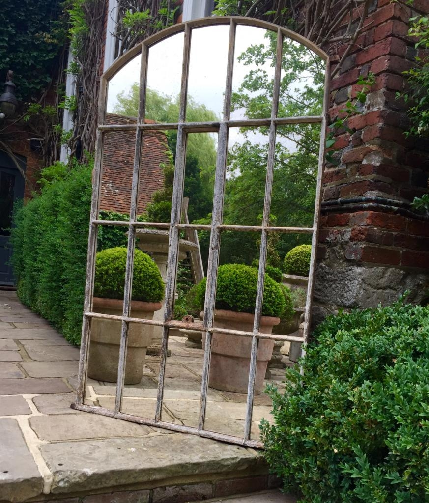 Industral Arch Factory Architectural Window Mirror Industrial Throughout Garden Window Mirror (Image 6 of 15)