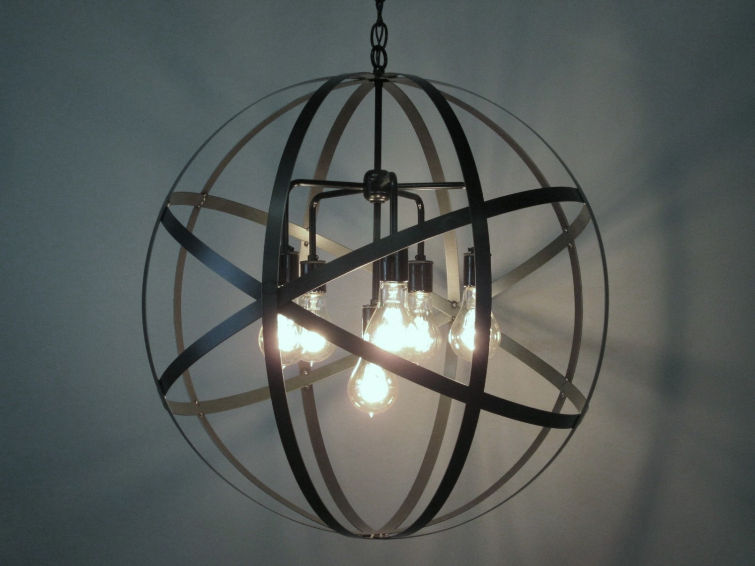 Industrial Orb Chandelier Ceiling Light Sphere 24 Intended For Orb Chandelier (Image 9 of 15)