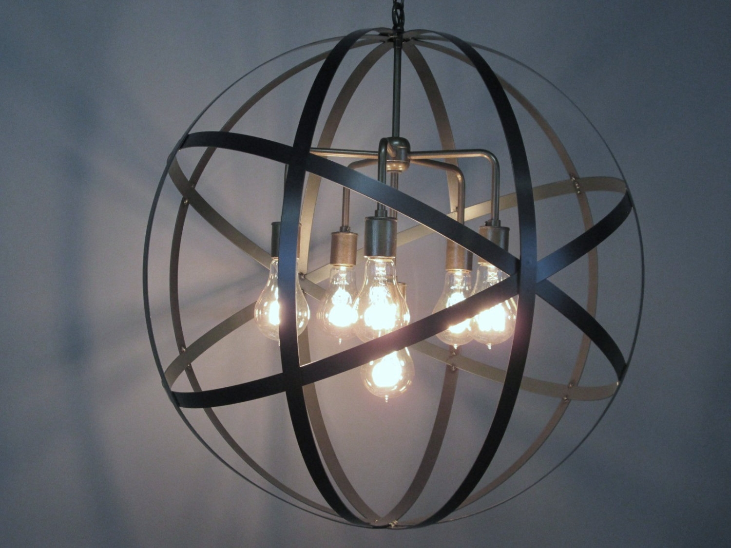 Industrial Orb Chandelier Ceiling Light Sphere 24 With Regard To Orb Chandelier (Image 10 of 15)