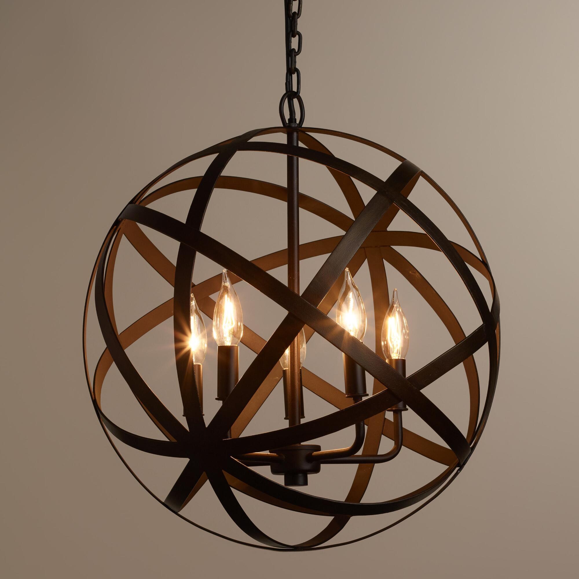 Industrial Round Chandelier Light Fixture Globe Metal Rustic With Regard To Metal Chandeliers (Image 11 of 15)