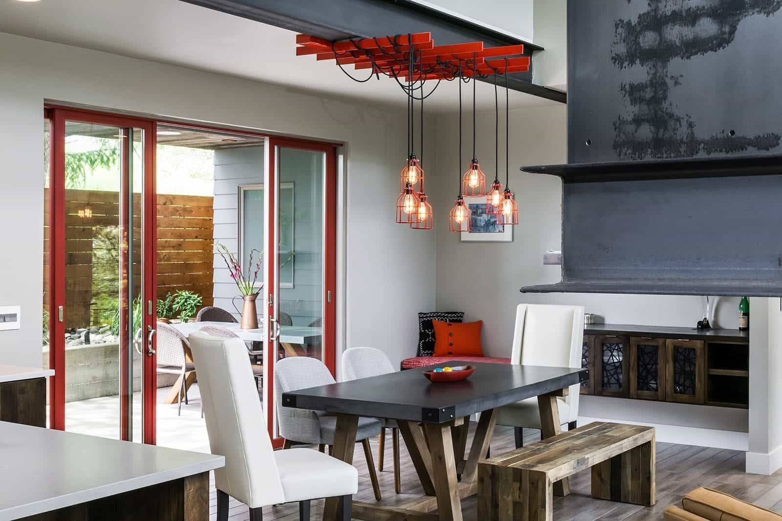 Industrial Sliding Glass Door For Contemporary Dining Room With Rustic Industrial Furniture (Image 10 of 27)