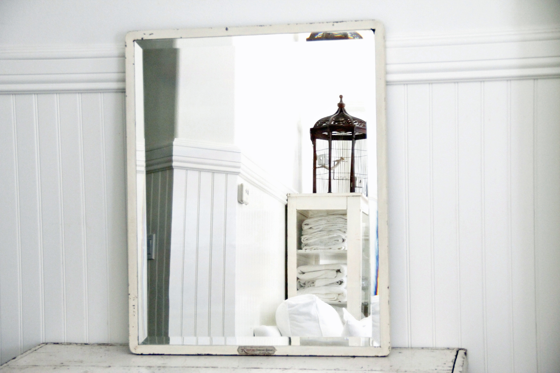 Industrial White Metal Beveled Mirror Large Omero Home In White Metal Mirror (Image 4 of 15)