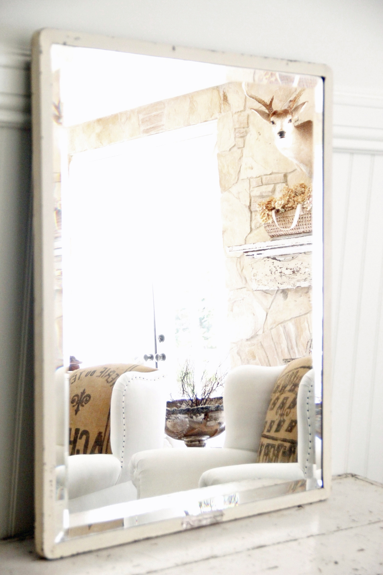Industrial White Metal Beveled Mirror Large Omero Home Within White Metal Mirror (View 6 of 15)