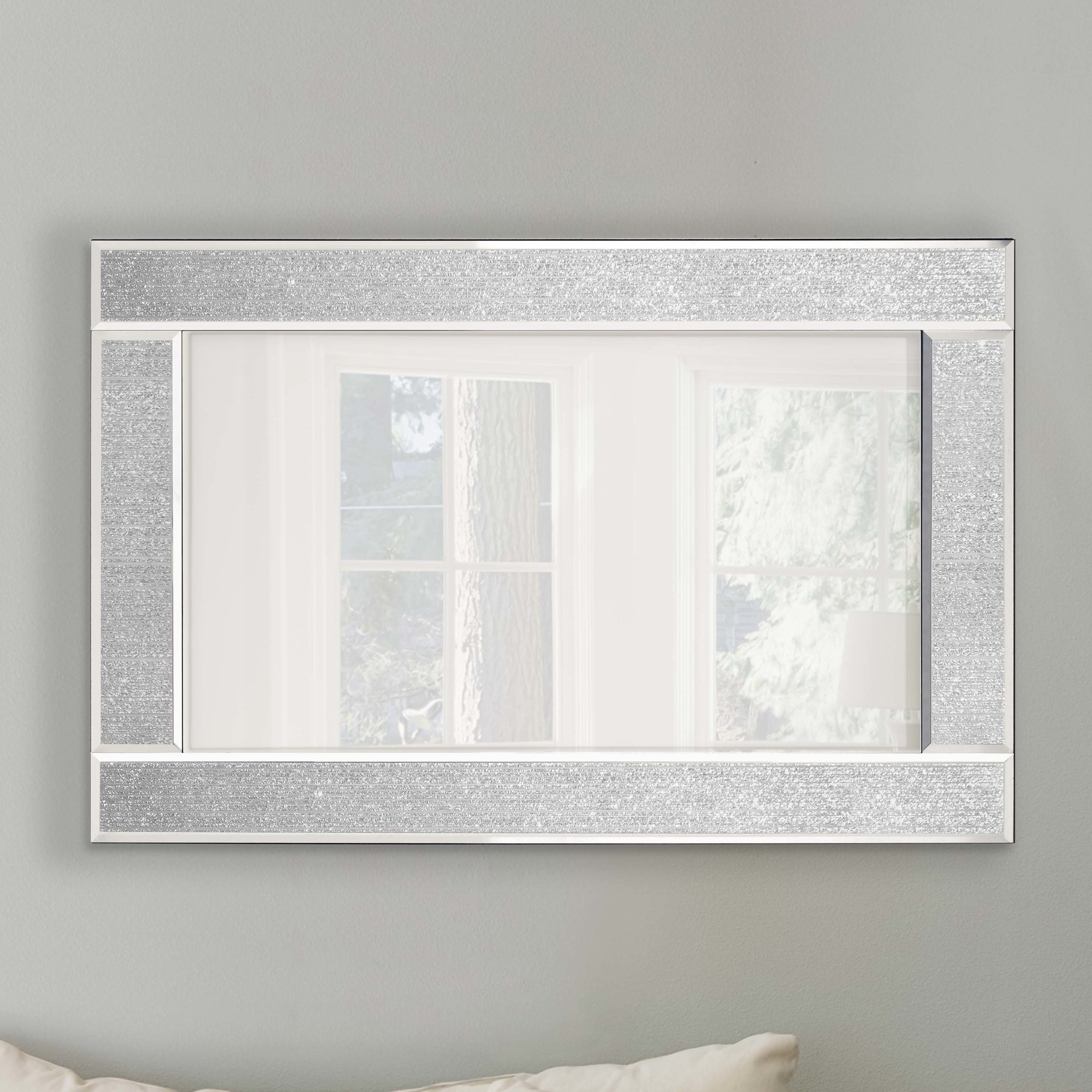 Innova Glitter Ascot Mirror Reviews Wayfaircouk Inside Silver Glitter Mirror (Image 9 of 15)