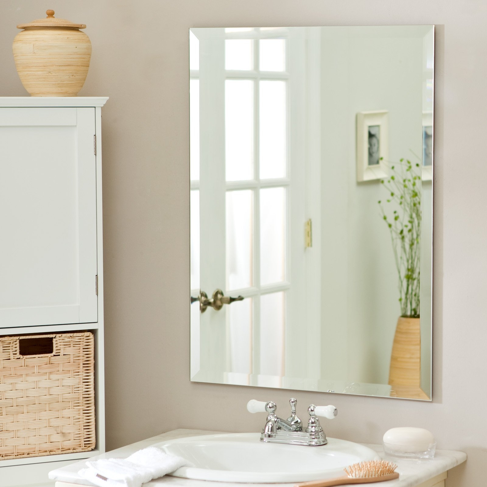 Install Large Frameless Bathroom Mirror Creative Bathroom Decoration Inside Frameless Large Mirror (Image 6 of 15)