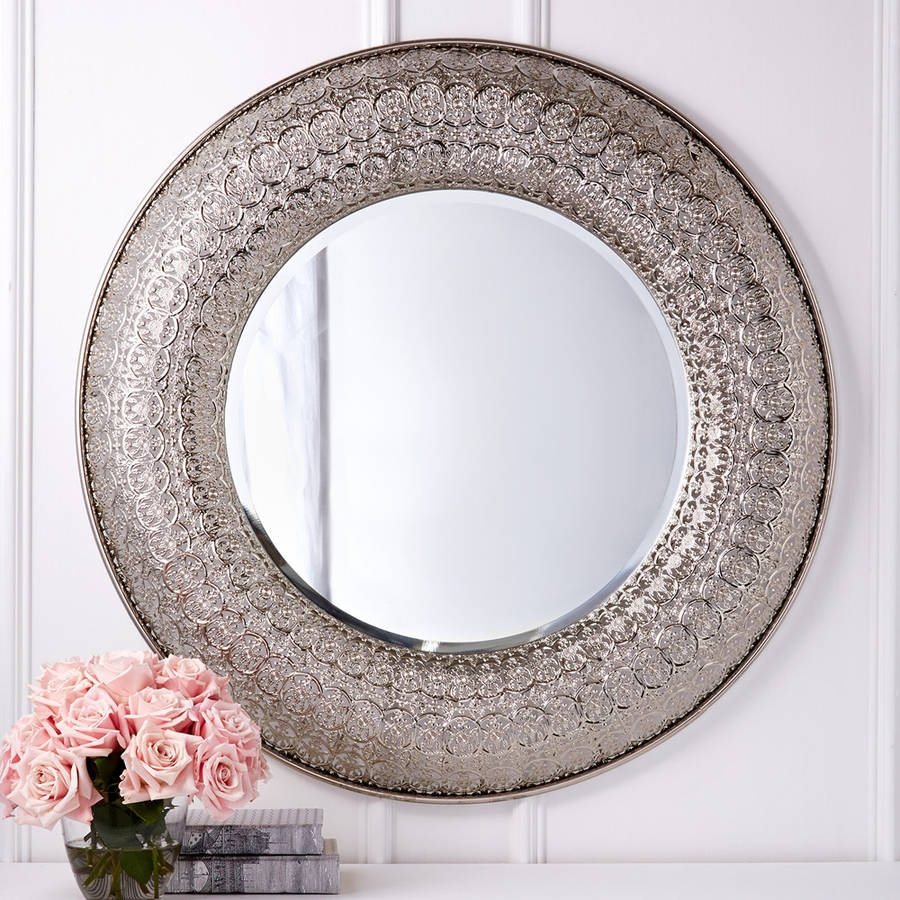 Interesting Ideas Large Round Wall Mirrors Classy Design Herzfeld Pertaining To Silver Round Mirrors (Image 9 of 15)