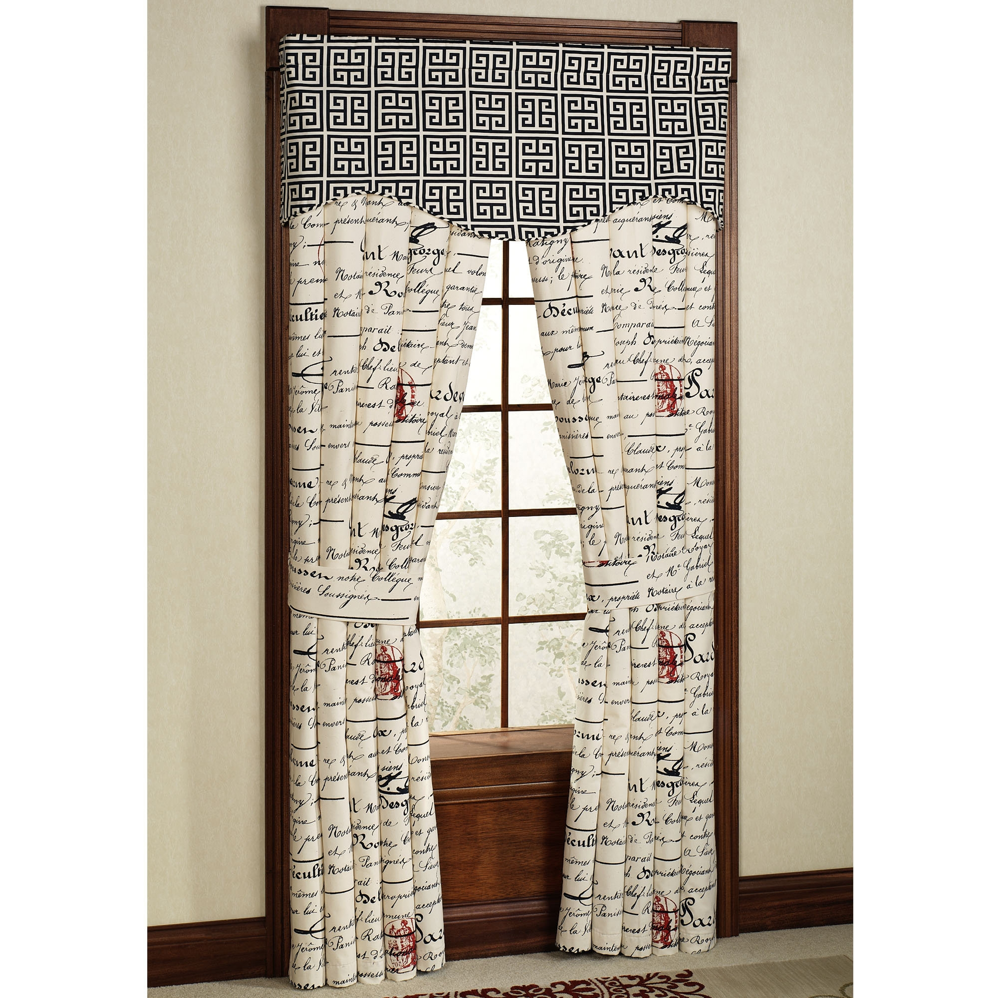Interior Black And White Fabric Door Curtain Connected Double With Main Door Curtains (Image 9 of 15)