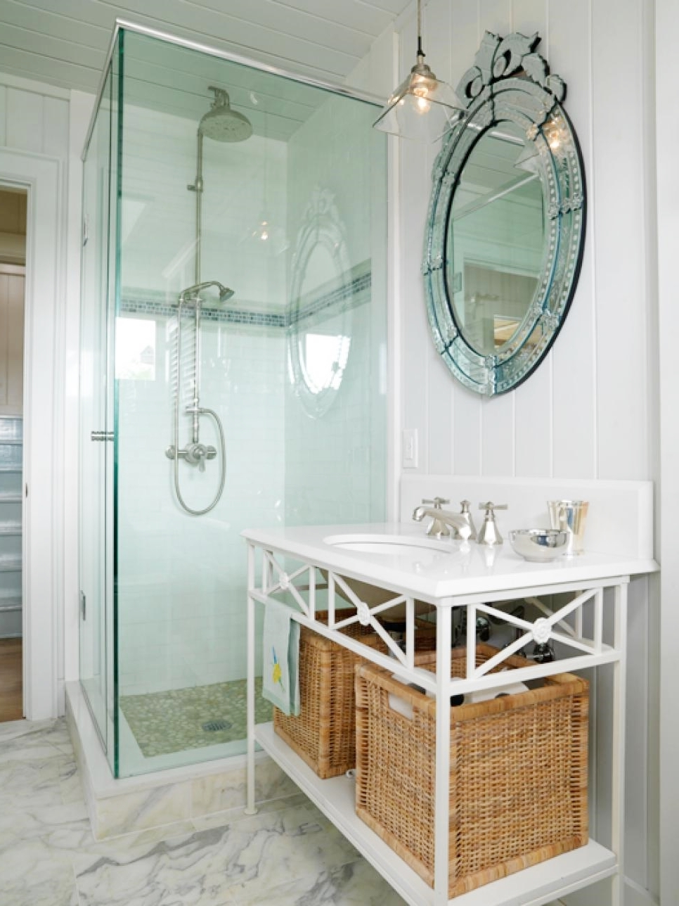Interior Brilliant Bathroom Storage Ideas Vintage Inspired Within Venetian Mirror Bathroom (Image 10 of 15)