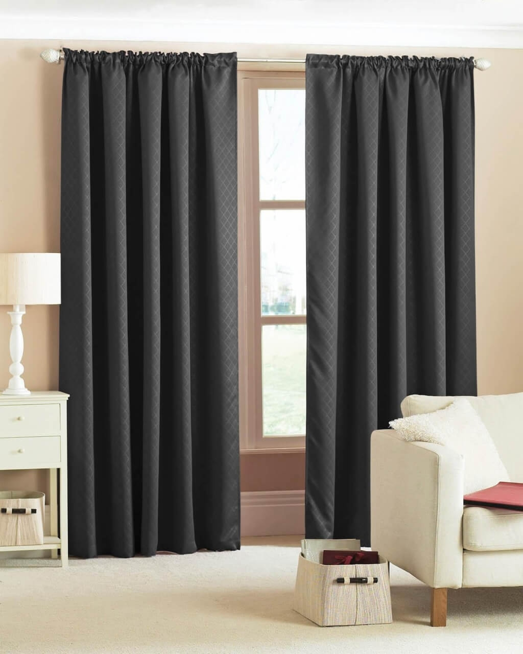 Interior Design 84 Inch Black Ivory Blackout Curtain Best For Black And Brown Curtains (Image 13 of 15)