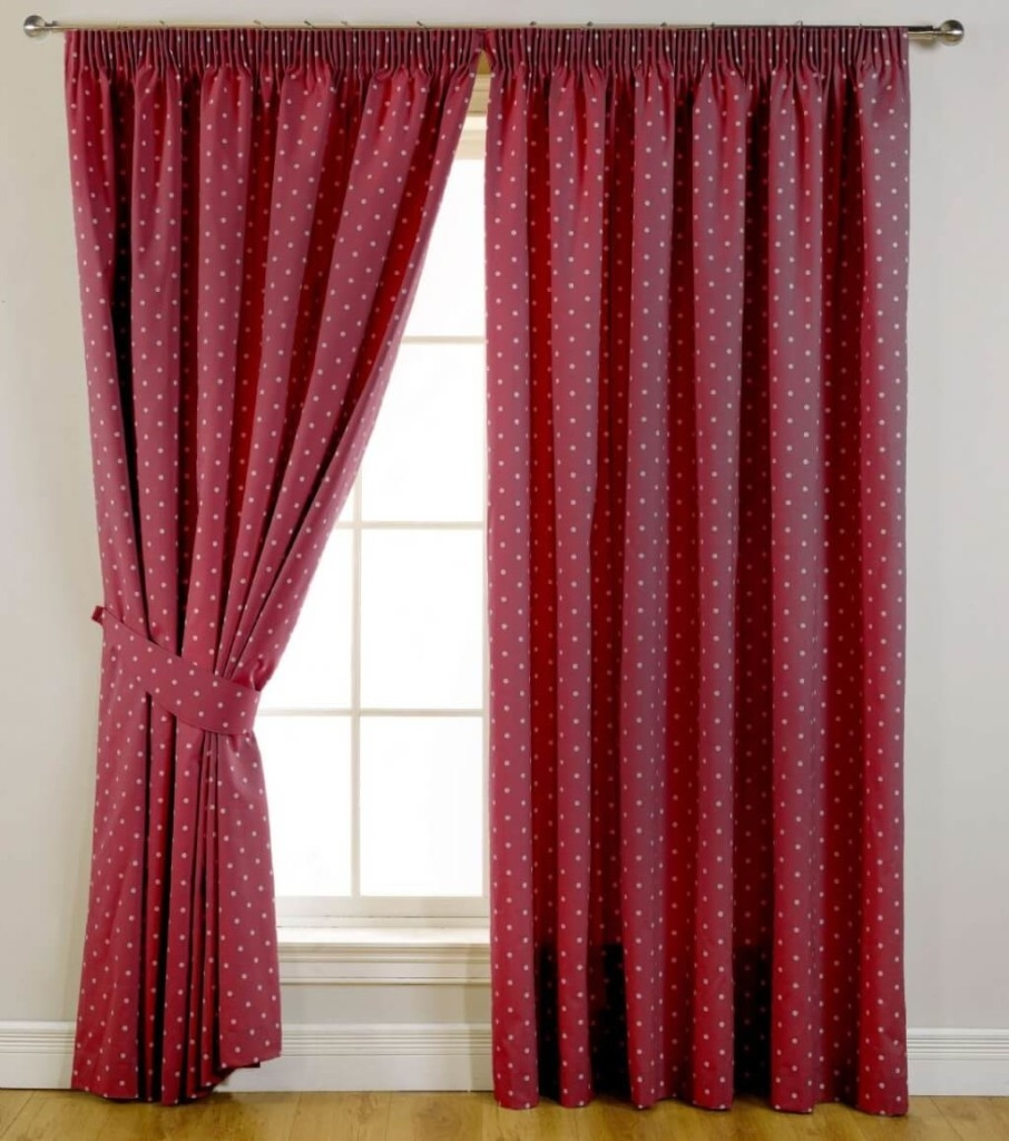 Interior Design Red White Polkadot Window Blackout Curtain Best Pertaining To White Curtains With Blackout Lining (Image 8 of 15)