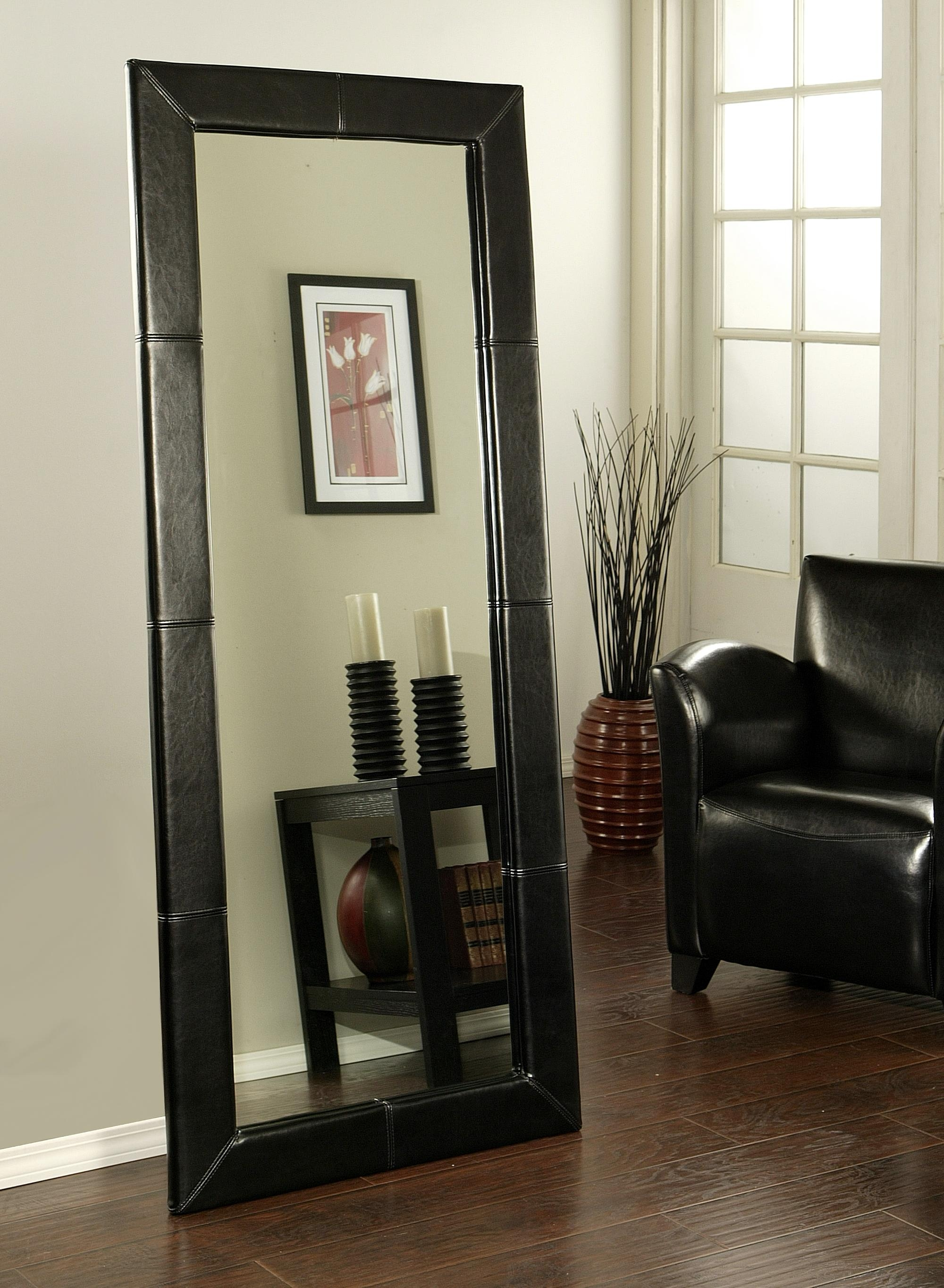Interior Exclusive Hallway Mirror Black Leather Frame Charming For Black Leather Framed Mirror (Image 5 of 15)