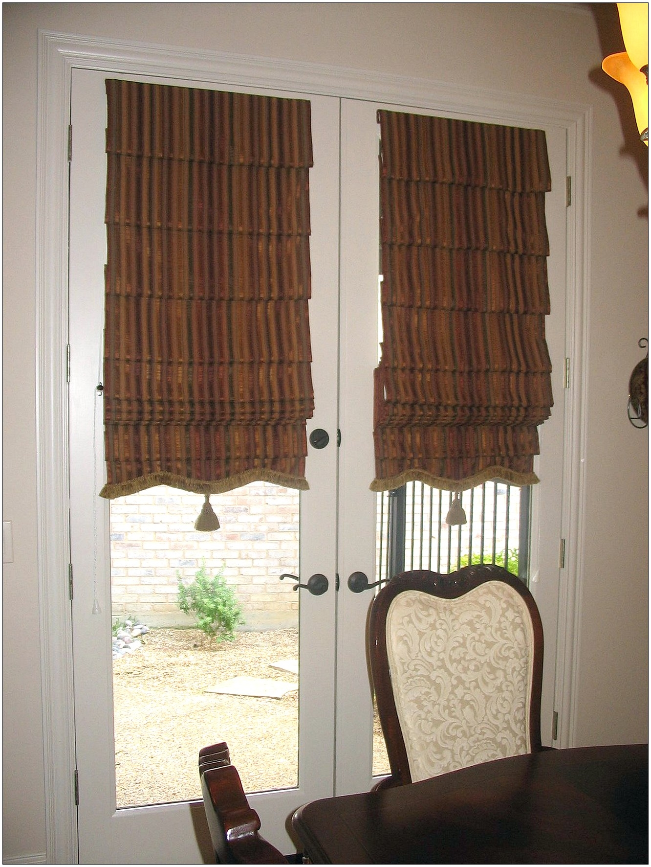 Interior French Door With Grey And White Striped Curtain Hanging With Striped Door Curtain (Image 6 of 15)