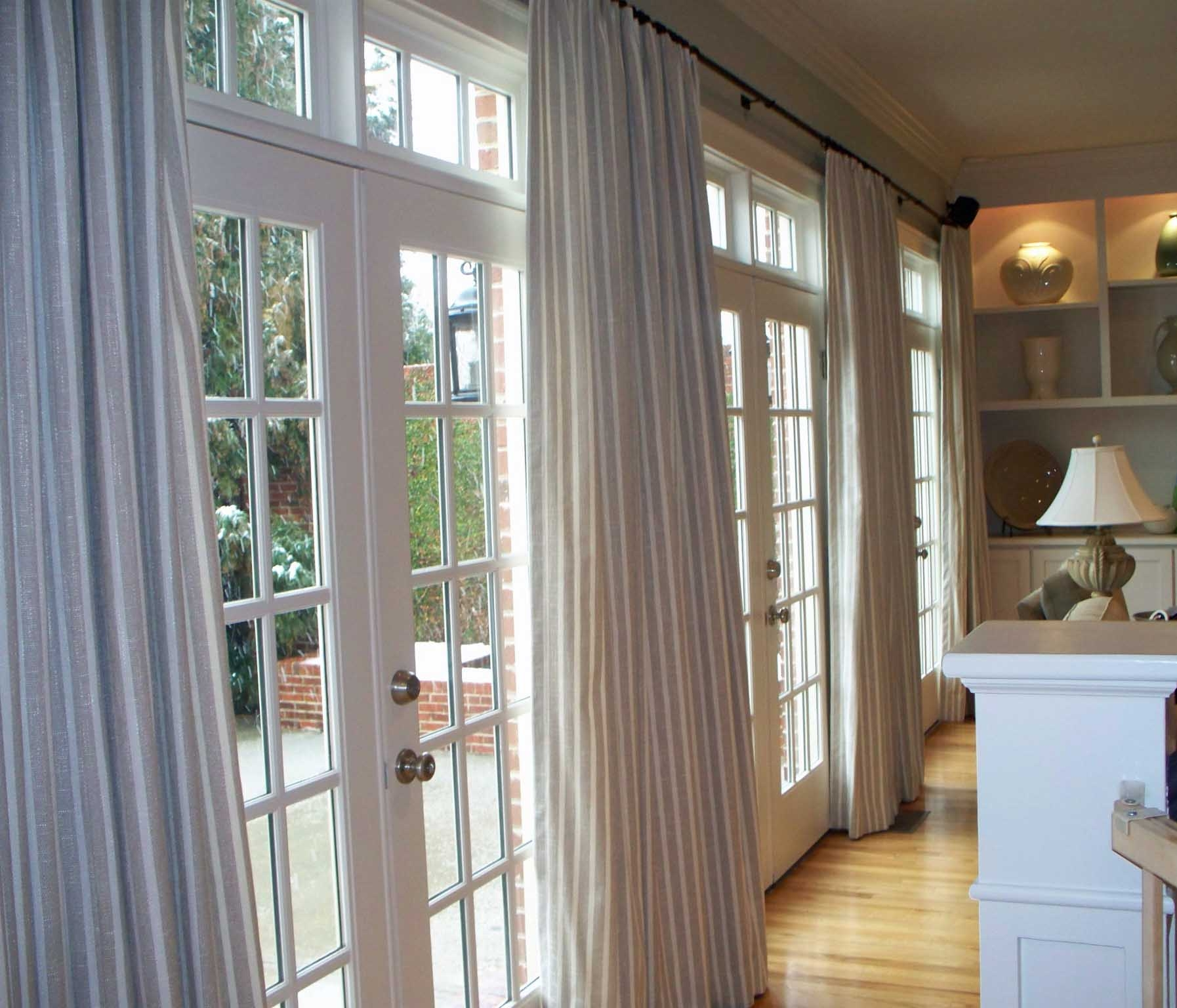 Interior Grey Cream Modern Striped Polyester Vertical Folding With Striped Door Curtain (Image 7 of 15)
