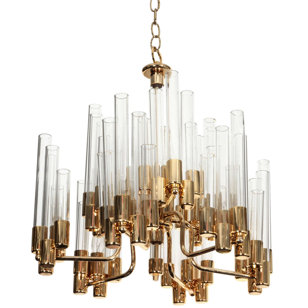 Interior Simple Glass Tube Froze Chandelier With Gold Shade Fileove Throughout Simple Glass Chandelier (Image 8 of 15)