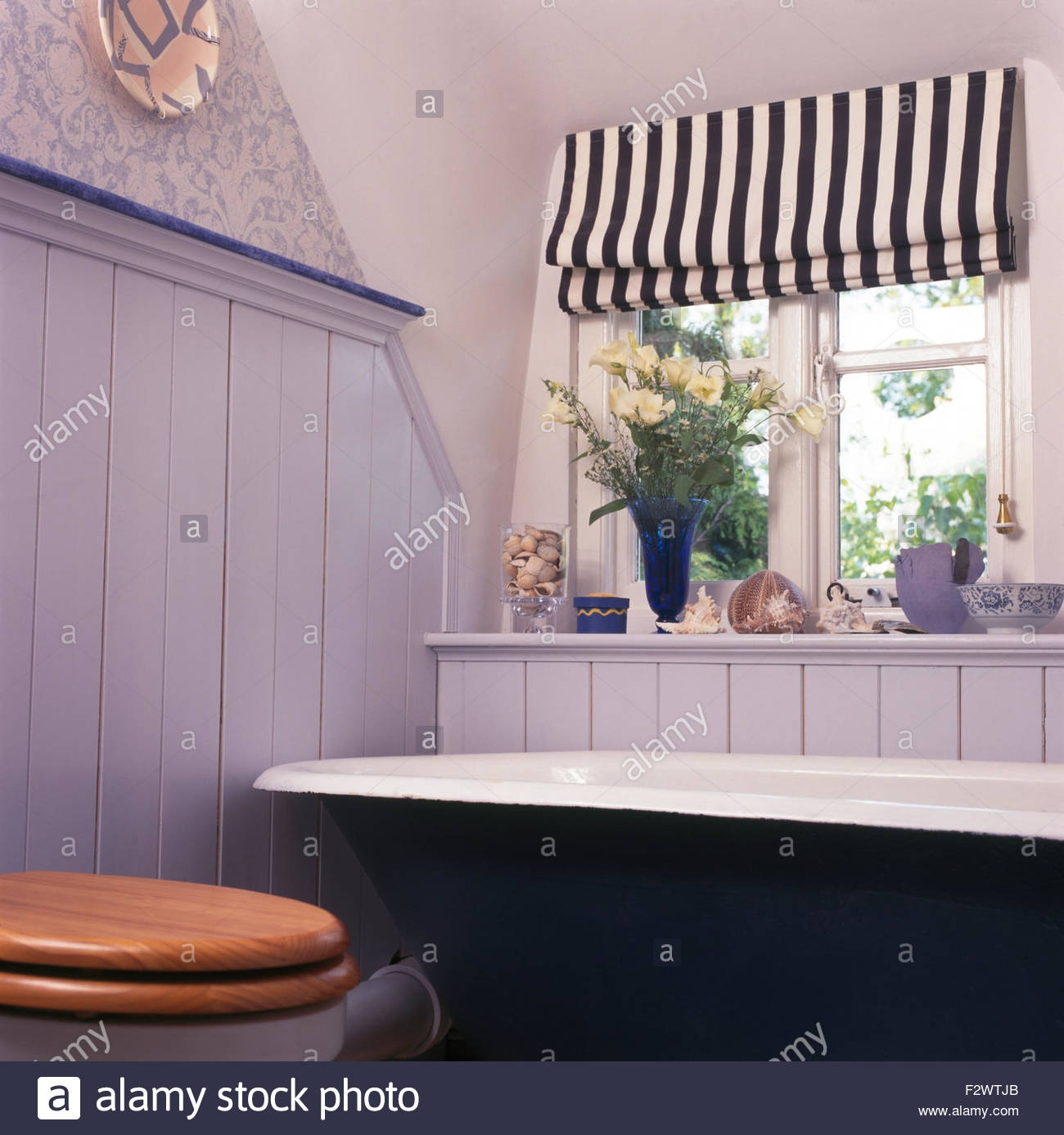 Interiors Bathroom Traditional Blind Stock Photos Interiors For Blue And White Striped Blinds (Image 6 of 15)