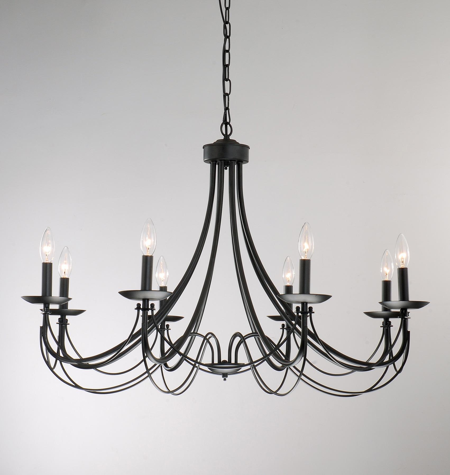 Iron 8 Light Black Chandelier Shopping Entryway And Design Regarding Large Black Chandelier (Image 8 of 15)