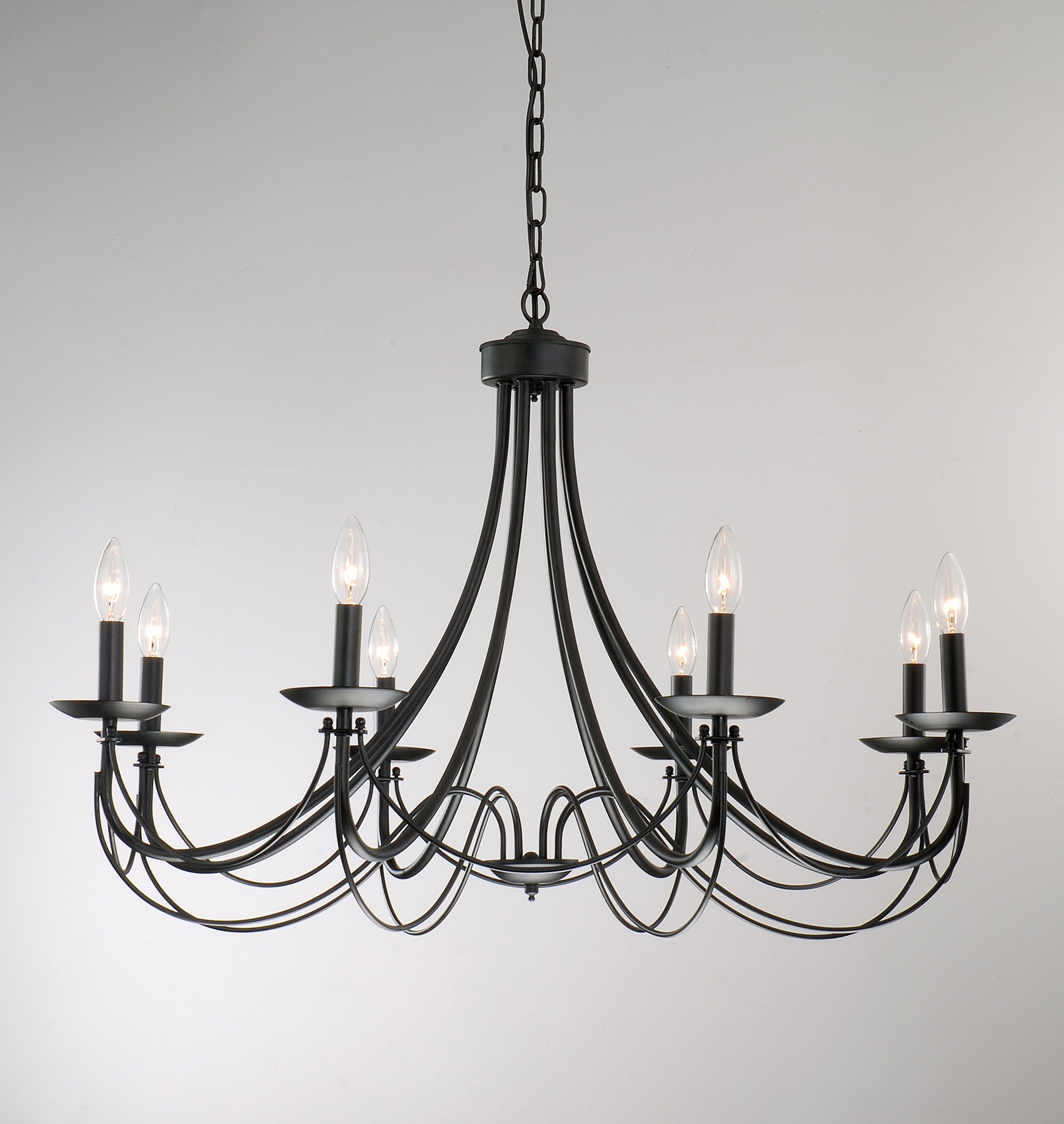 Iron 8 Light Black Chandelier Shopping Entryway And Design Within Black Iron Chandeliers (Image 12 of 15)