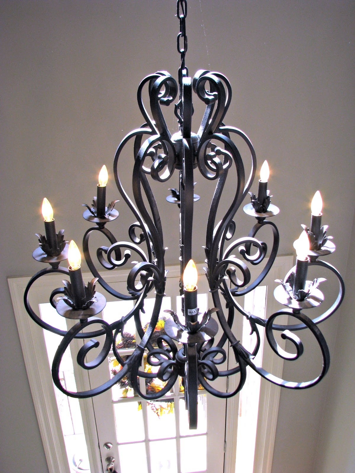 Iron Chandelier With Shades Roselawnlutheran With Regard To Wrought Iron Chandelier (Image 8 of 15)