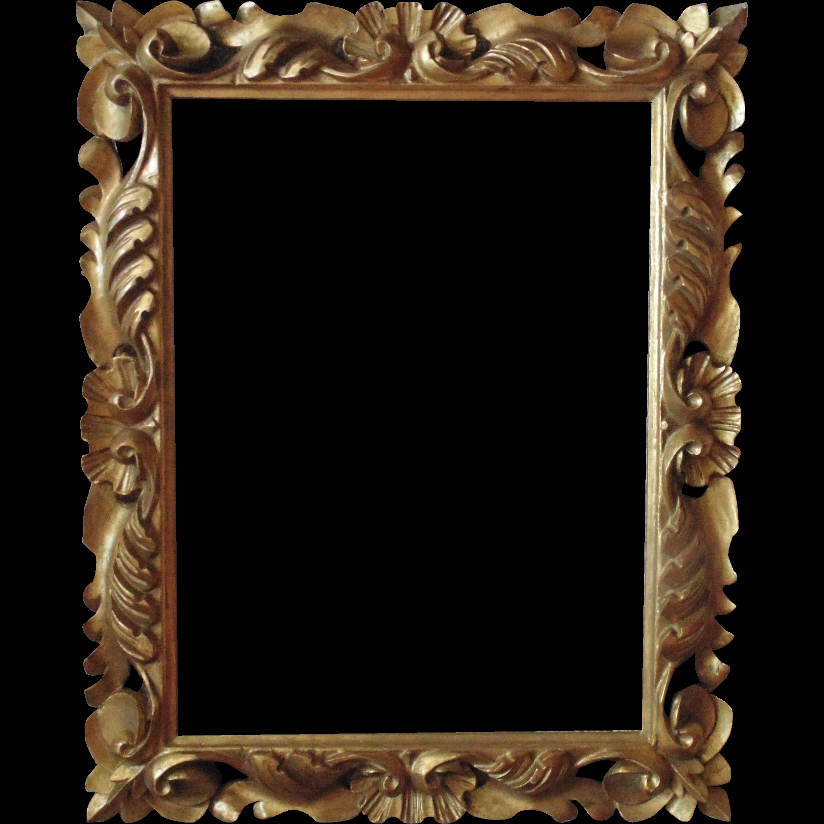 Italian Carved Wood Picture Frame For Print Painting Mirror In Rococo Gold Mirror (Image 8 of 15)