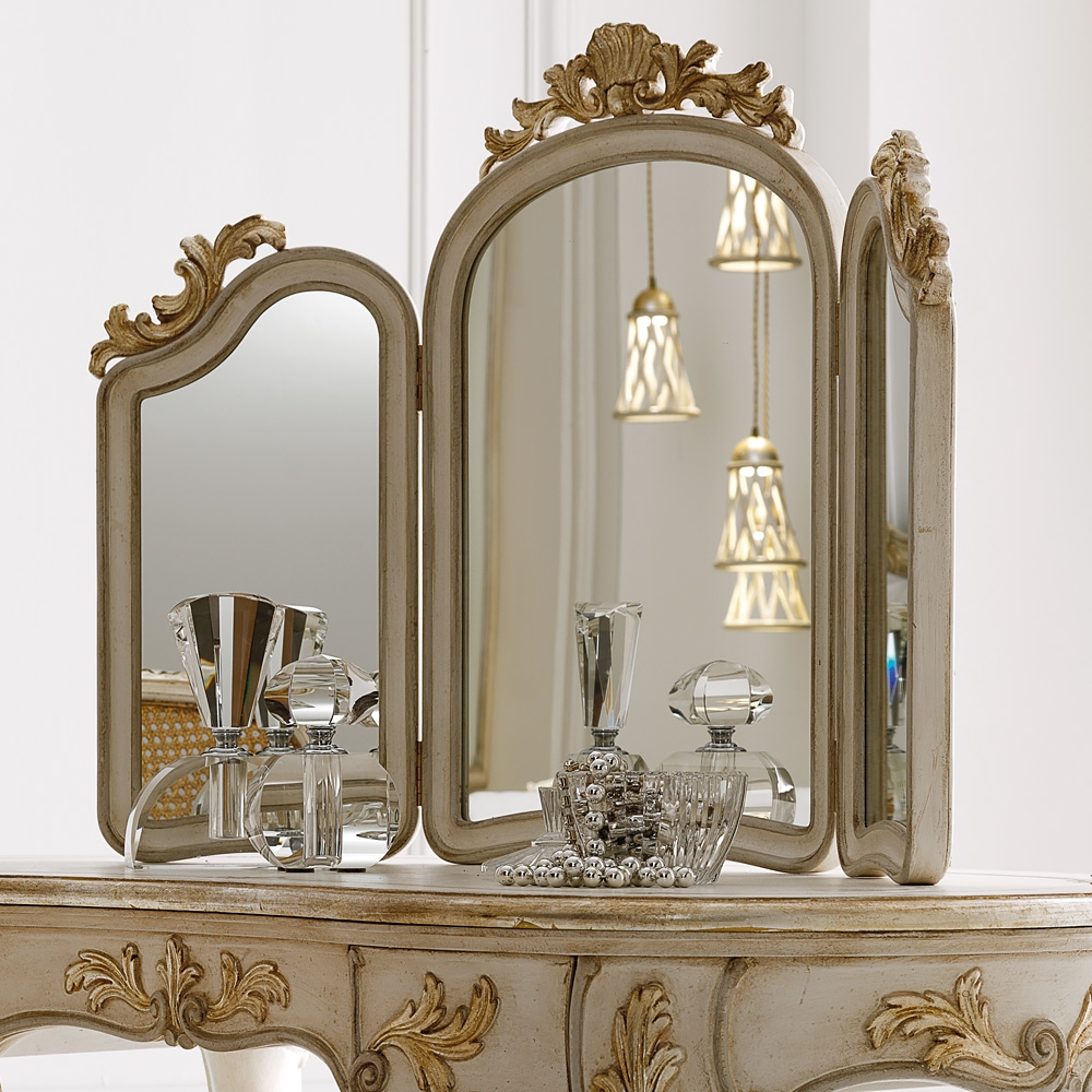 Italian Freestanding 3 Leaf Dressing Table Mirror Juliettes Regarding Ornate Dressing Table Mirror (Image 5 of 15)
