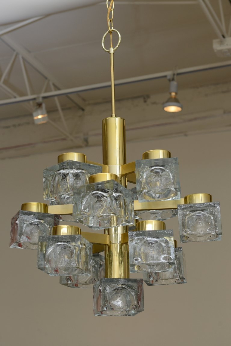 Italian Large Gaetano Sciolari Brass And Cube Glass Chandelier For Regarding Brass And Glass Chandelier (Image 3 of 15)