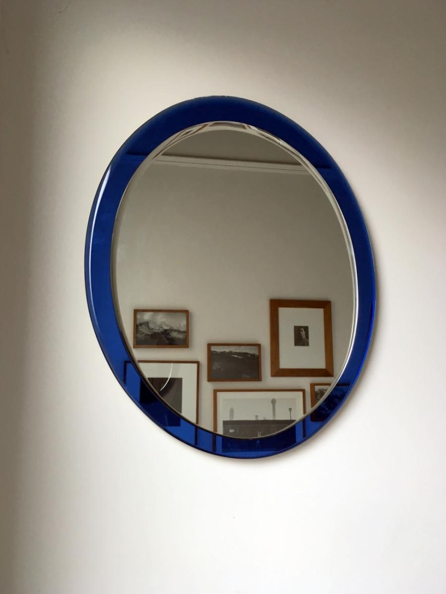 Italian Mirror With Blue Glass Frame For Sale At Pamono Pertaining To Mirror With Blue Frame (View 11 of 15)